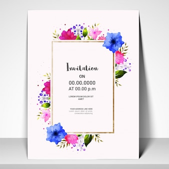 Invitation Card template with colorful flowers.