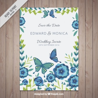 Invitation card template with flowers and butterflies