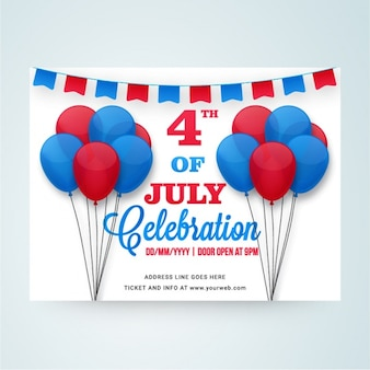 Invitation card with balloons for independence day