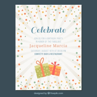 Invitation card with confetti and starburst background