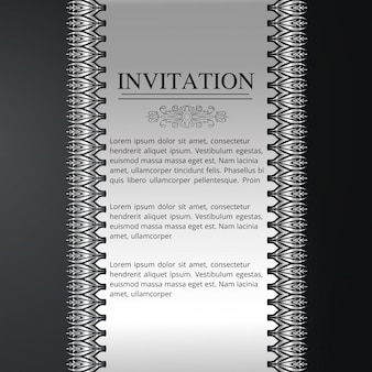 Invitation card with floral seamless pattern