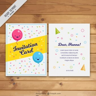 Invitation card with smiling balloons