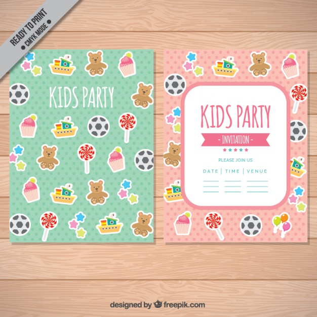 Invitation for kid party with decorative items