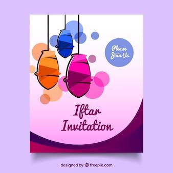 Invitation iftar with lanterns