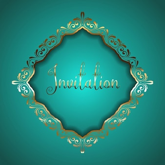Invitation in a golden ornamental frame