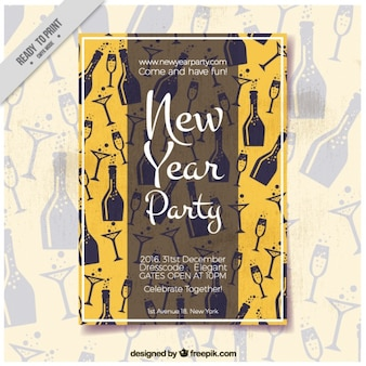 Invitation new year's party in vintage style