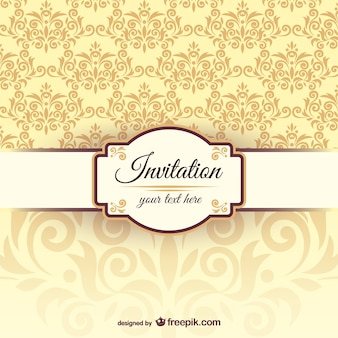 Invitation template with damask pattern