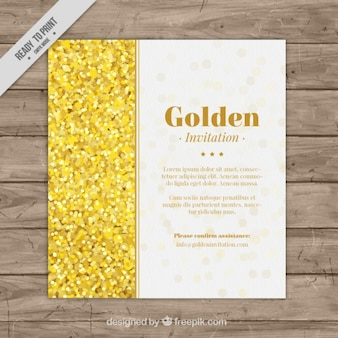 Invitation template with golden confetti