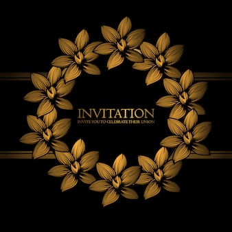 Invitation template with golden floral wreath