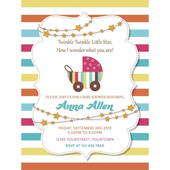 Invitation with full color lines for baby shower