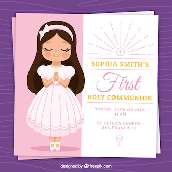 Invitation with lovely first communion girl