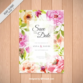 Invitation with pretty watercolor flowers