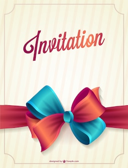 Invitation with red and blue ribbon
