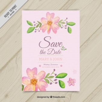 Invitation with watercolor flowers