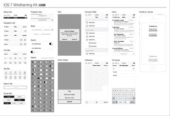 iOS 7 Wireframe Apple vector kit