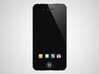 Iphone with dock vector icons