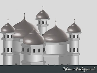 Islamic background with mosque illustration