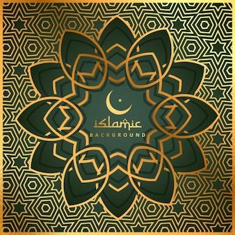 黄金パターンでイスラム形状の背景