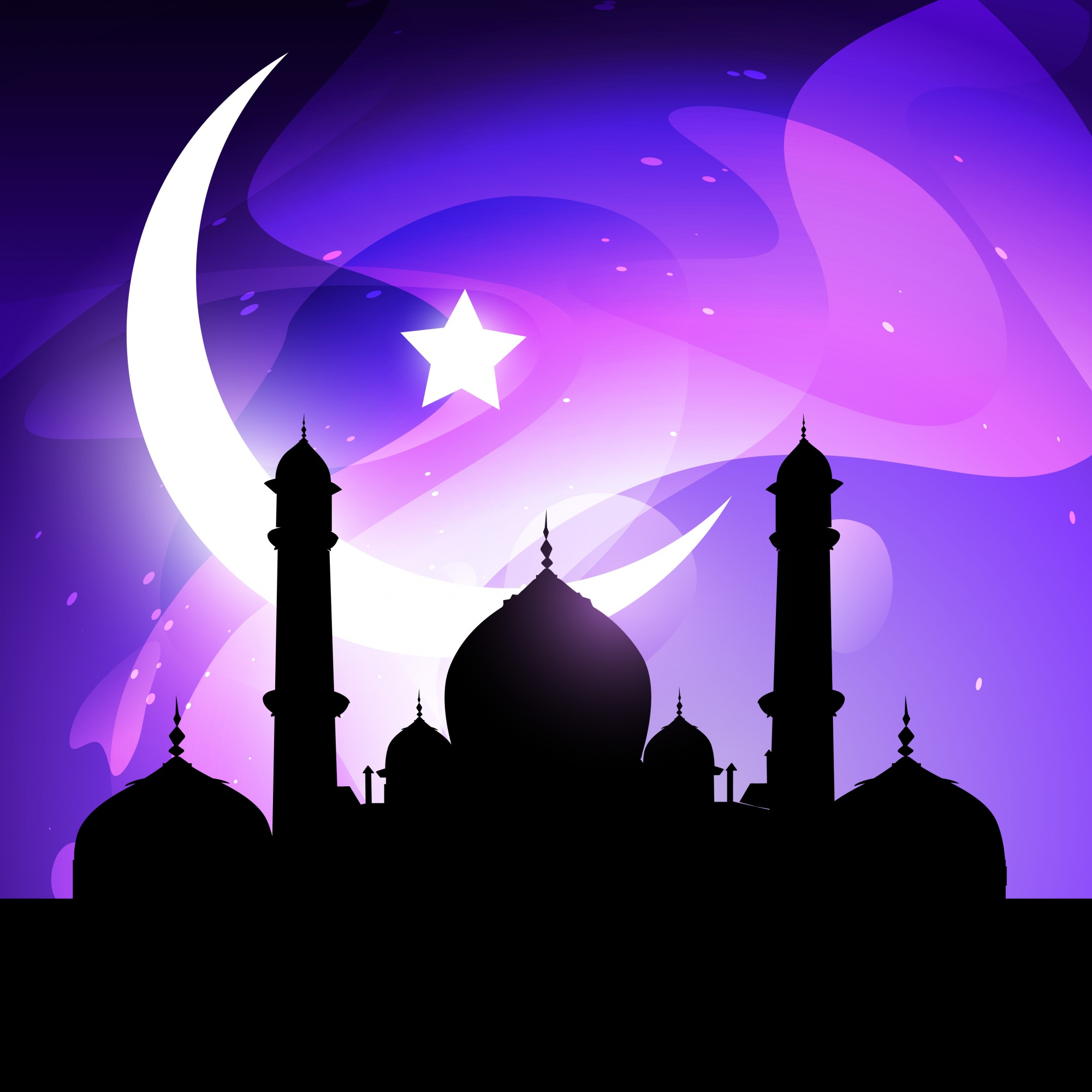 Islamic illustration with mosque and moon