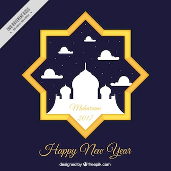 Islamic new year background of star with mosque