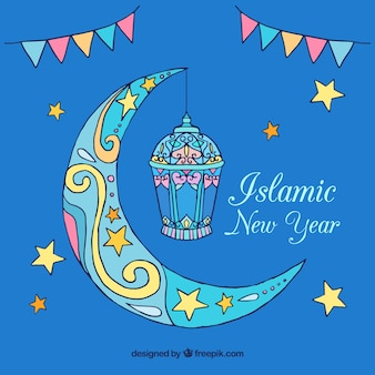 Islamic new year background with moon