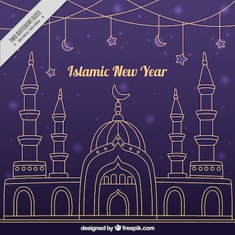 islamic new year purple background of hand drawn mosque