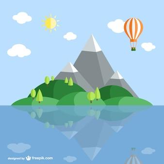 Island landscape cartoon