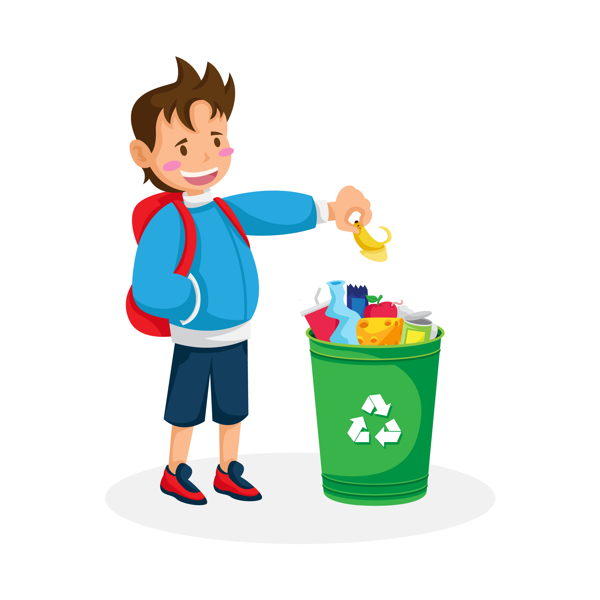 Isolated boy recycling
