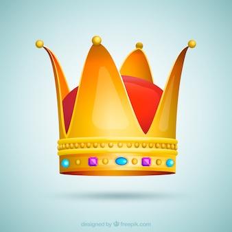 青色と紫色の宝石を持つ孤立した冠
