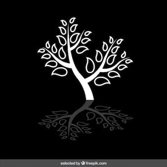 Isolated white tree silhouette
