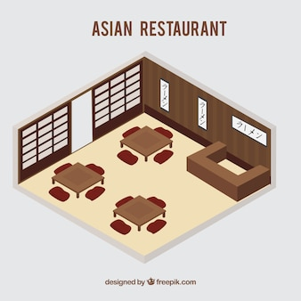 Isometric asian restaurant