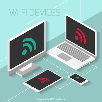 Isometric background of electronic devices with wifi signal