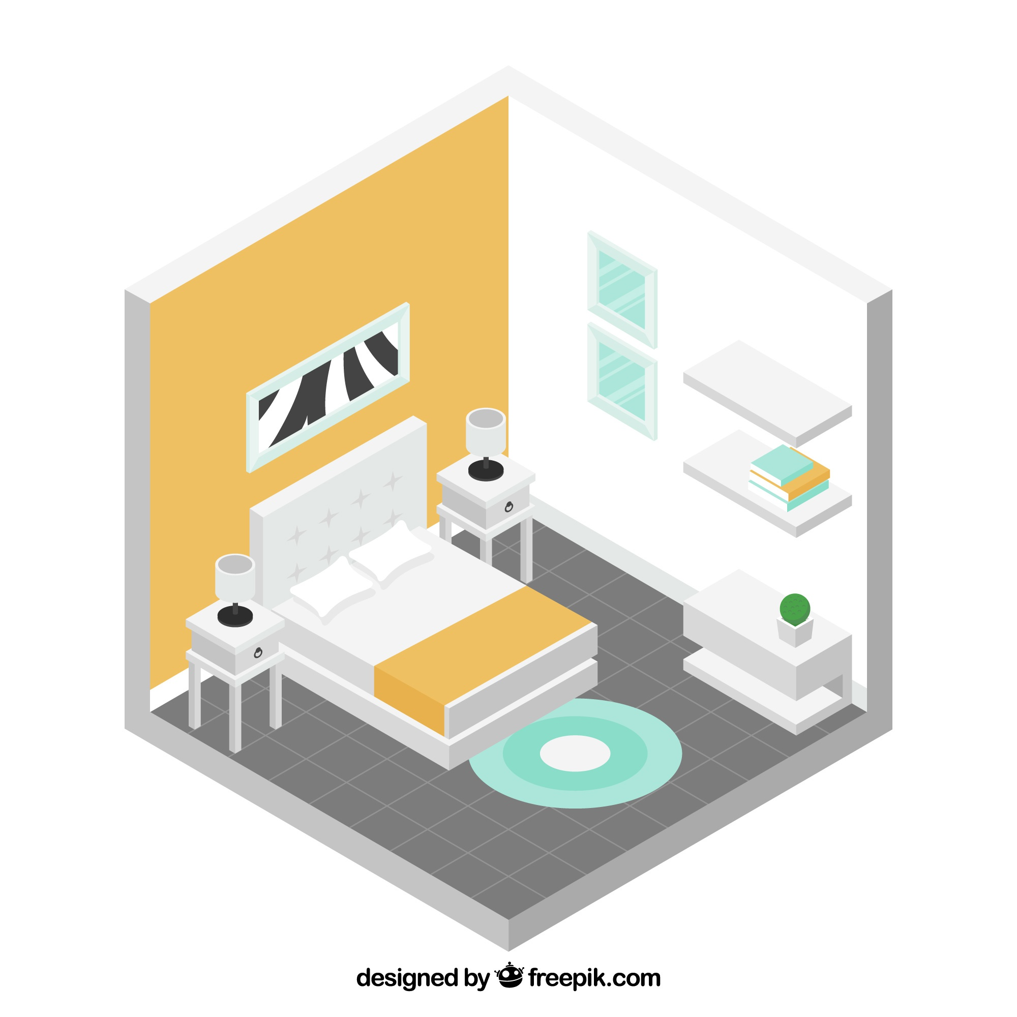 Isometric bedroom with white furniture