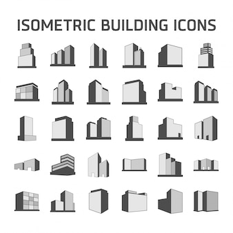 Isometric building icons