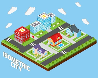 Isometric city background