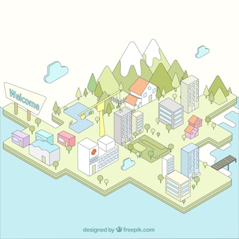 Isometric city, hand drawn style