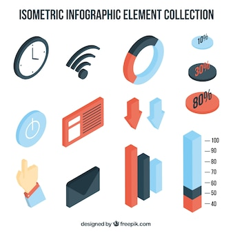 Isometric collection of infographic elements