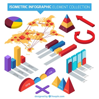Isometric collection of useful elements for infographics