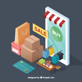 Isometric composition with phone and clothes shop