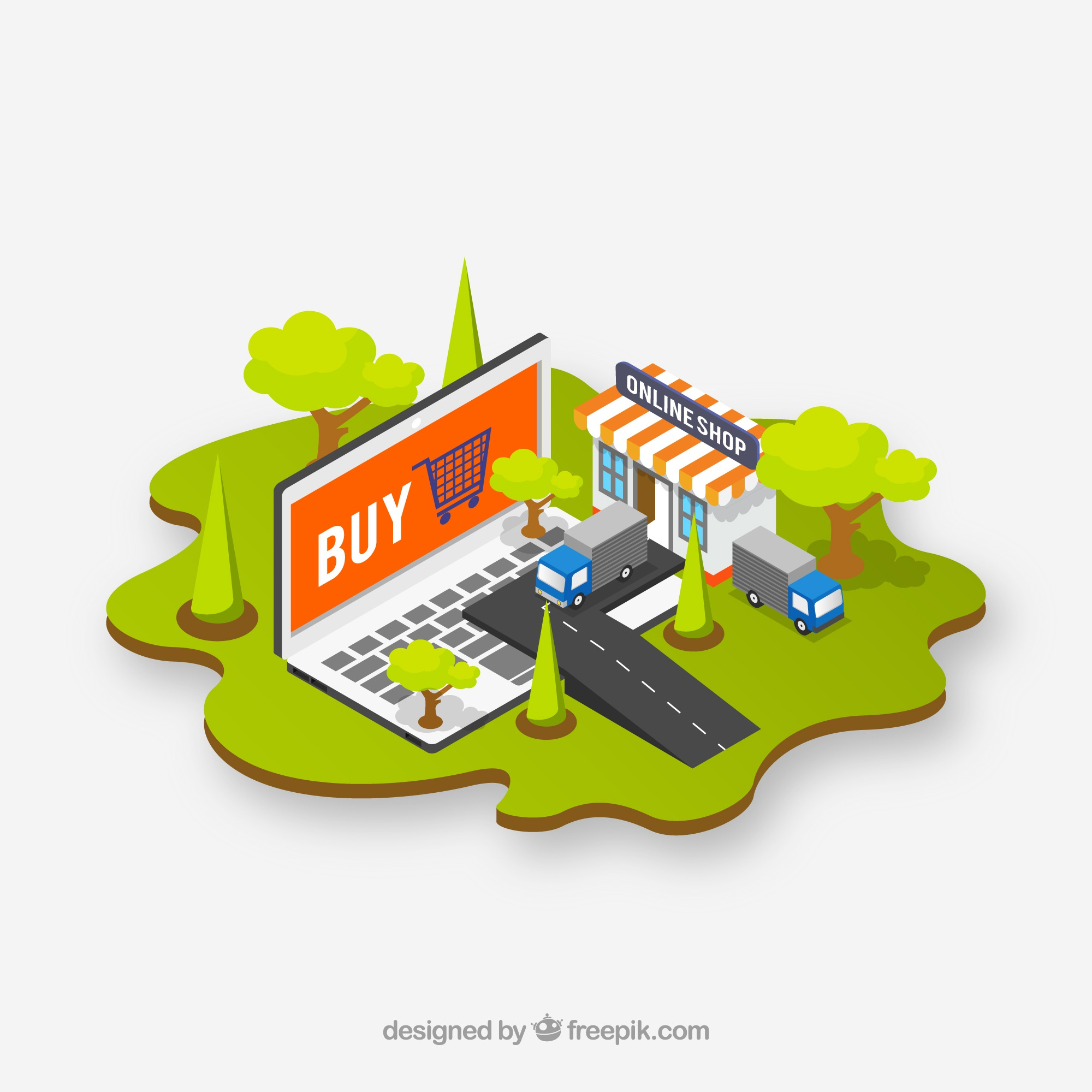 Isometric computer background and e-commerce elements
