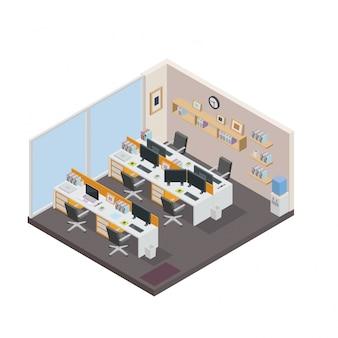 Изометрический творческий офис Кубический дизайн интерьера