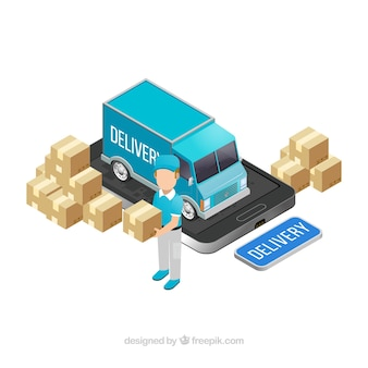 Isometric delivery with truck and smartphone