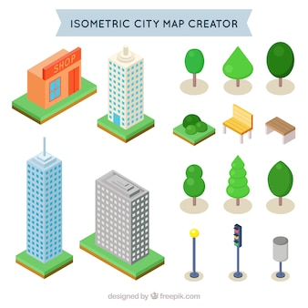 Isometric elements to create a city