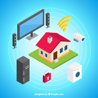 Isometric home background with devices with internet
