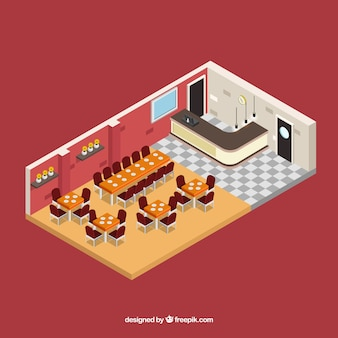 Isometric interior of restaurant