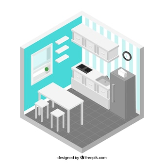 Isometric kitchen with blue walls