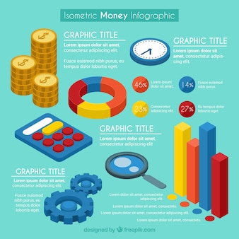 Isometric money infographic template
