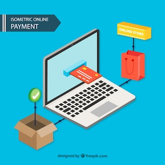Isometric online payment background