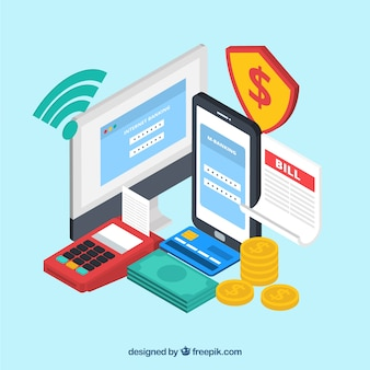 Isometric online shopping composition