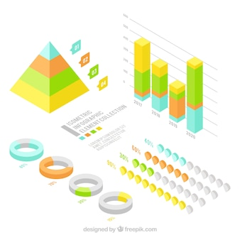 Isometric pack of infographics elements